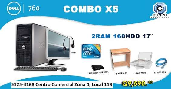 Combo dell x5 optiplex 760 core 2 duo con 2gb de ram todo incluido!!