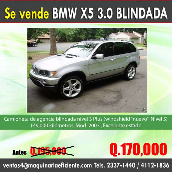 Bmw x5 blindada nivel tres plus a un super precio!!!
