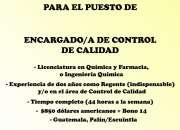 ENCARGADO DE CONTROL Y CALIDAD - PALÍN ESCUINTLA