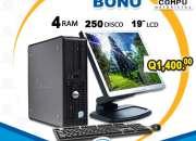 Computadoras dell a q1,400.00 con 4gb ram y 250gb hd aprovecha 10 visa cuotas q140.00