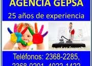 Agencia de niñeras y empleadas domésticas gepsa, 25 años de experiencia