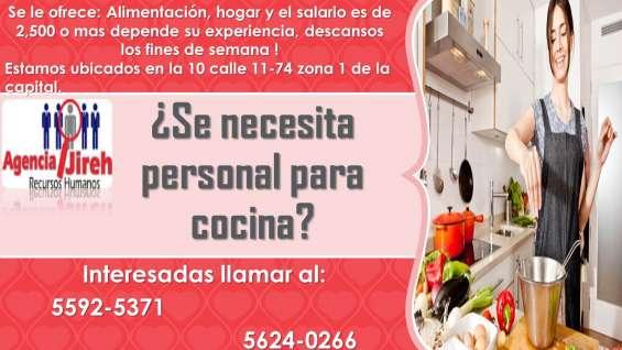Agencia jireh necesita personal para cocina !!