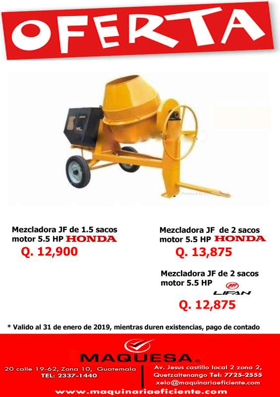 Mezcladora en oferta con motor honda a un super precio!!!