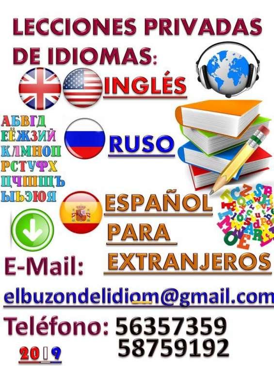 Lecciones privadas de inglés, ruso y español para extranjeros