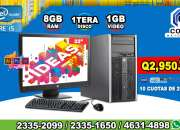 COMPUTADORAS HP COREi5, 08GB RAM, 1TERA DISCO DURO, 01GB DE VIDEO, LCD 22P A Q 2,950.00,