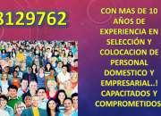 Servicios de seleccion y colocacion de personal Domestico y Empresarial