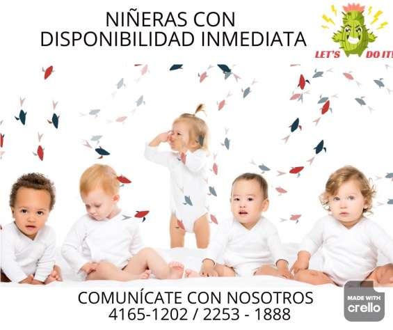 Servicio de niñeras con disponibilidad inmediata