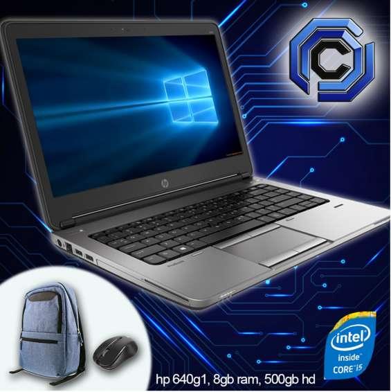 Laptops hp corei5 de 6ta generación, 08gb ram, 500hd, 14 pulgadas, mochila, cargador, a ta